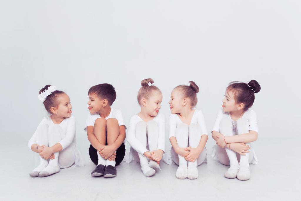 Pre-School ballet students sitting on floor